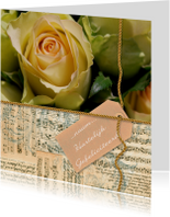 Gele roos noten label gouden touw