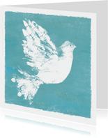 Geïllustreerde kerst- of nieuwjaarskaart met duif