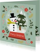 Geïllustreerde kerstkaart met leuke illustratie sneeuwbol