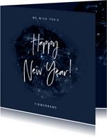Geschäftliche Neujahrskarte Happy New Year mit Feuerwerk