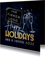 Geschäftliche Weihnachtskarte 'Happy Holidays'