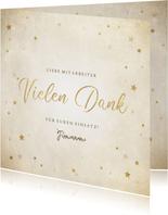 Geschäftliche Weihnachtskarte Vielen Dank mit Sternen