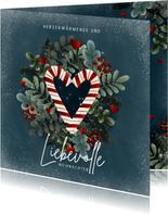 Geschäftliche Weihnachtskarte Zuckerstangen Herz