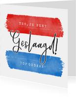 Geslaagd examen kaart met vlag en aanpasbare tekst