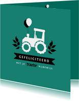 Geslaagd kaart rijbewijs tractor ballonnen hip