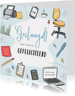 Geslaagd kaart schoolexamen diploma illustraties leren