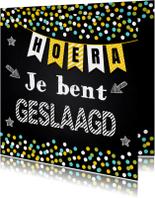 Geslaagd school krijtbord slinger confetti