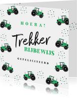 Geslaagd tractor rijbewijs hip confetti foto groen