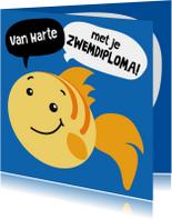 Geslaagd kaarten - Geslaagd vis zwemdiploma
