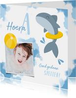 Geslaagd kaarten - Geslaagd zwemdiploma haai met band en bal