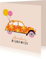 Geslaagdkaart rijbewijs oranje bloemen