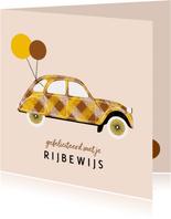 Geslaagdkaart rijbewijs ruit bruin/geel