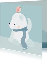 Getekend ijsbeertje met vogeltje op zijn hoofd
