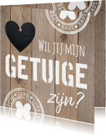 Getuigekaart typografie houtprint hartje