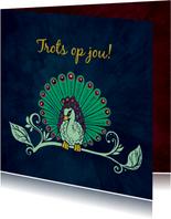 geweldig gedaan kaartje met pauw