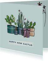 Gezellige felicitatiekaart met allemaal cactussen op een rij