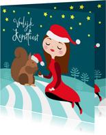 Gezellige kerstkaart met meisje en eekhoorn