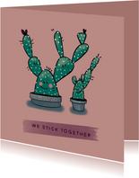 Gezellige vriendschapskaart met twee vrolijke cactussen