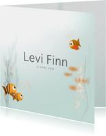 Gezin geboortekaartje water vis