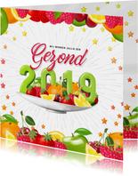 Gezond 2019 nieuwjaarskaart met fruit