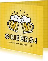 Glückwunsch-Geburtstagskarte Cheers mit Bier