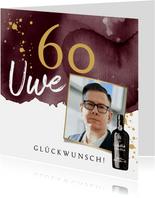 Glückwunschkarte 60. Geburtstag mit Portwein & Foto