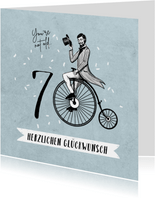 Glückwunschkarte 70. Geburtstag Hochrad Vintage