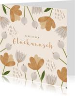Glückwunschkarte Braune Blumen