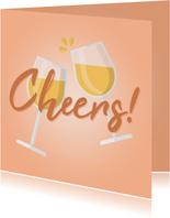 Glückwunschkarte 'Cheers' mit Weingläsern