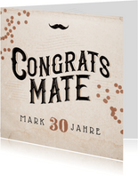 Glückwunschkarte 'Congrats Mate' Mustache & Konfetti