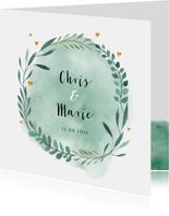 Glückwunschkarte für ein Hochzeitspaar Kranz in Grün