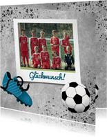 Glückwunschkarte für Fußballmannschaft mit Foto