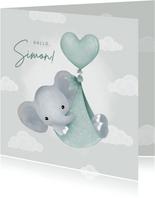 Glückwunschkarte Geburt blau Elefant mit Luftballon