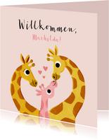 Glückwunschkarte Geburt Giraffenfamilie Mädchen