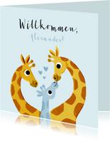 Glückwunschkarte Geburt Junge mit Giraffenfamilie