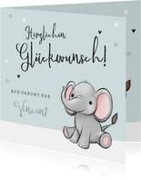 Glückwunschkarte Geburt kleiner Elefant blau
