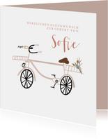 Glückwunschkarte Geburt Mädchen Fahrrad