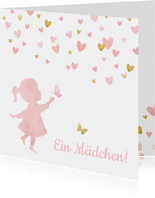 Glückwunschkarte Geburt Mädchen Scherenschnitt