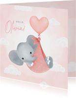 Glückwunschkarte Geburt rosa Elefant mit Luftballon