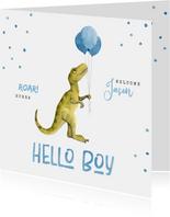 Glückwunschkarte Geburt süßer Dino mit Luftballons