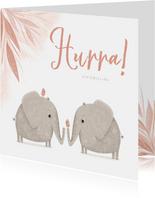 Glückwunschkarte Geburt von Zwillingen süße Elefanten