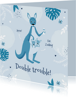 Glückwunschkarte Geburt Zwilling blaue Känguruhs
