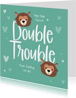 Glückwunschkarte Geburt Zwilling Double trouble