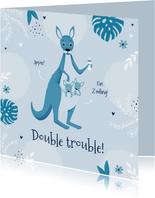 Glückwunschkarte Geburt Zwilling mit Känguruh blau