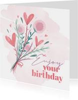 Glückwunschkarte Geburtstag Blumen und Wasserfarbe