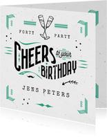 Glückwunschkarte Geburtstag Cheers typografie