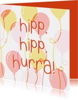 Glückwunschkarte Geburtstag 'Hipp hipp hurra' orange