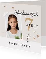 Glückwunschkarte Geburtstag Mädchen mit Foto und Herzen