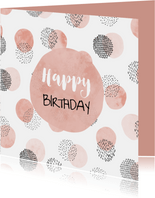 Glückwunschkarte Geburtstag rosa und schwarze Punkte