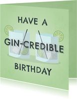 Glückwunschkarte Gin-credible birthday